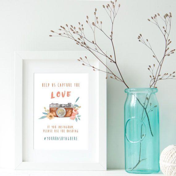 Instagram Sign,BROWN,Wedding Hashtag Sign,Help Us Capture the Love,Digital Art,Vintage Camera Watercolor,Retro camera,flower,Instagram Photo BY MARAQUELA
