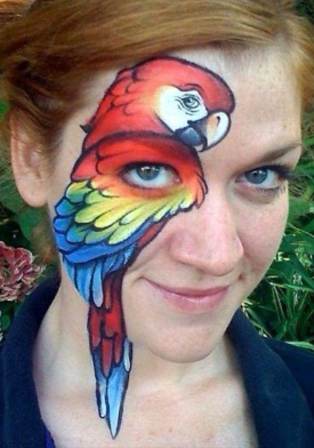 breathtaking parrot face paint