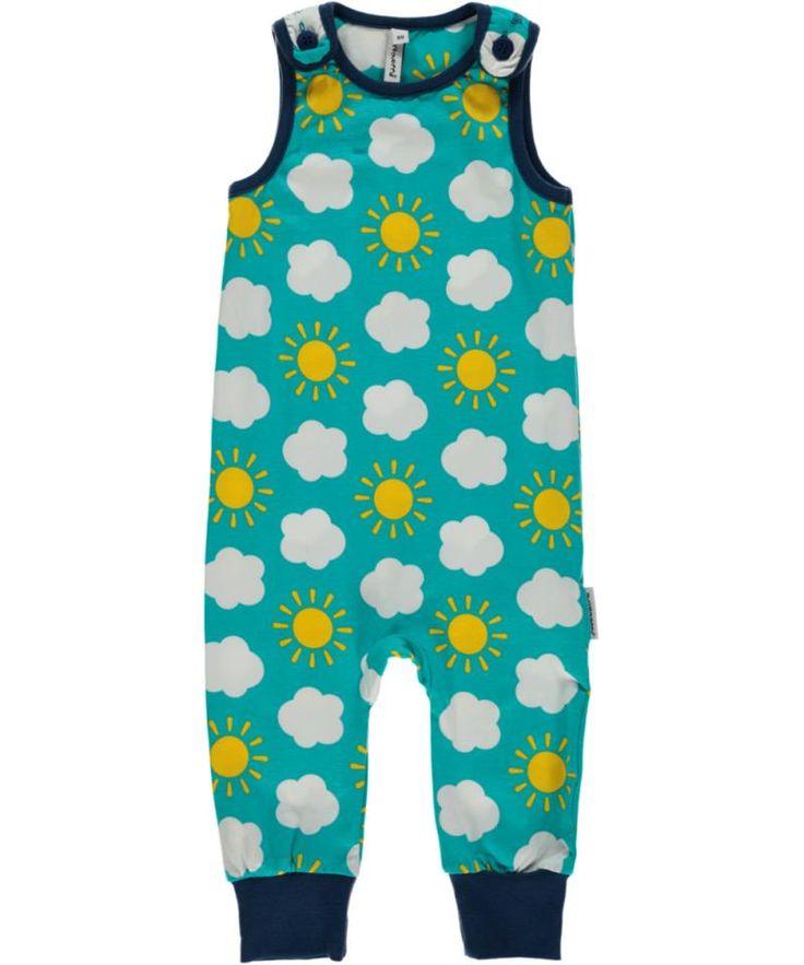 Maxomorra Organic play suit - Sky Retro Baby Clothes - Baby Boy clothes - Danish Baby Clothes - Smafolk - Toddler clothing - Baby Clothing - Baby clothes Online