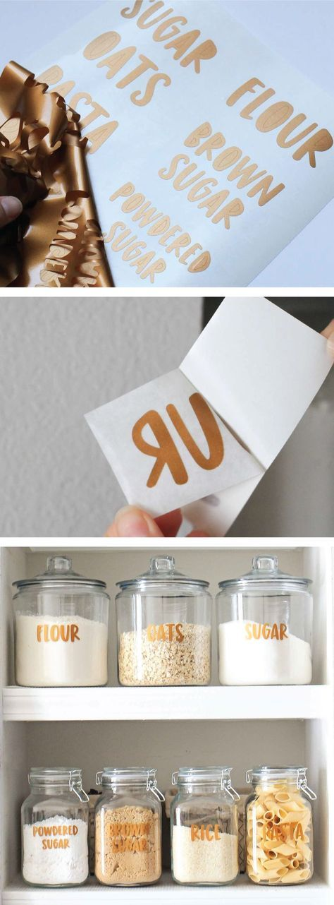 Learn how to make these copper, pantry label decals with vinyl. AND learn how to make pantry label stickers with just a printer and sticker paper!