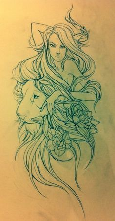 This would make an amazing tattoo! I make the girl look less seductive and more comforted by the lion's strength .