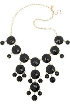 J.Crew Bubble necklace: 18-karat gold-plated, faceted black acetate stones, black acetate beads, designer tag. Clasp fastening.