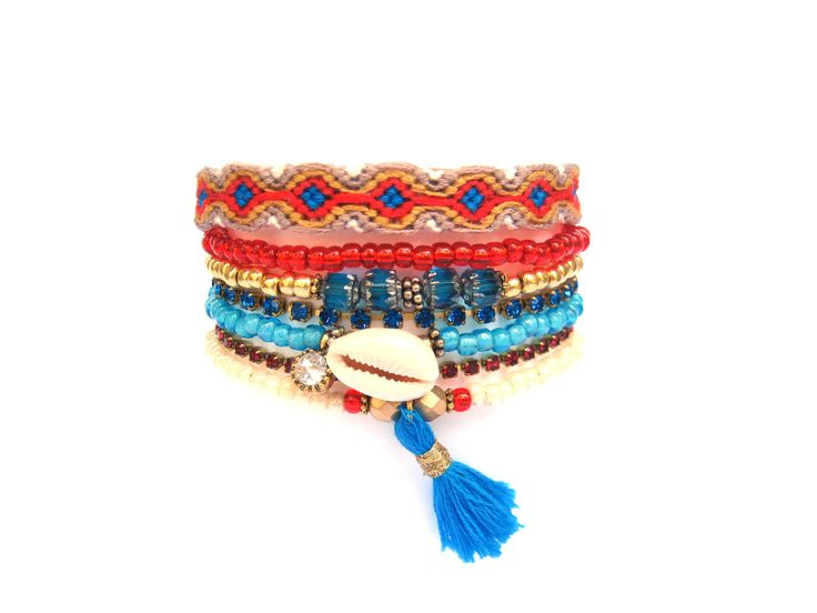 Multi Strand Beaded Bracelet - Coral and Turquoise