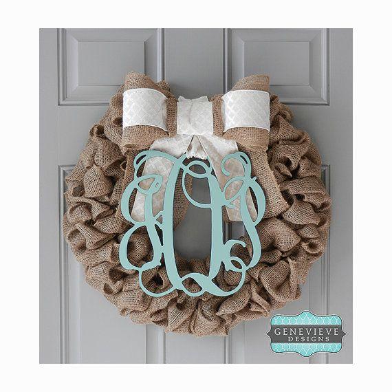 Fall Burlap Wreath - Mint Monogram & Ivory Diamond - Initial Wreath, Rustic Wreath,  Wreath, Front Door Wreath, Hospital Door Wreath, Baby