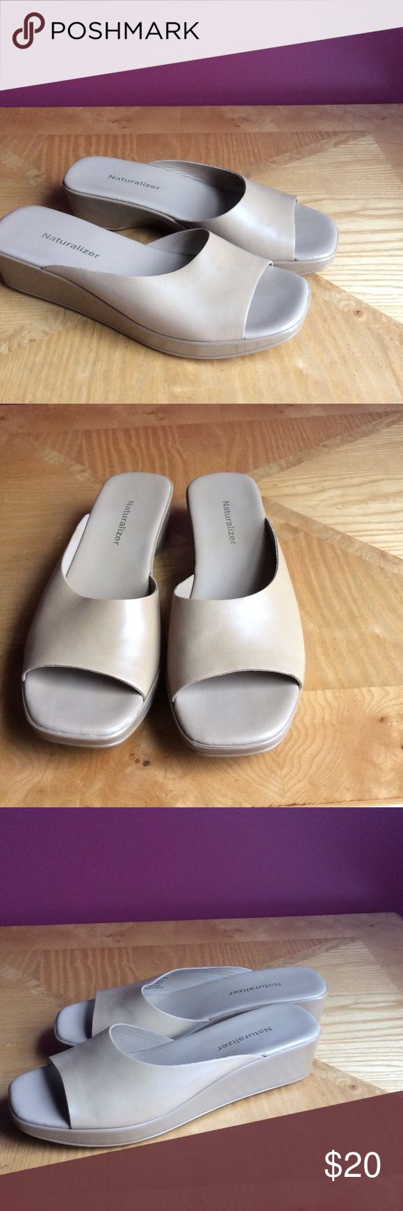 Naturalizer camel sandal SZ 8.5 M Great neutral slip on sandal for summer.  Color goes with so many things. Shoes were worn a couple times. EUC Naturalizer Shoes Sandals