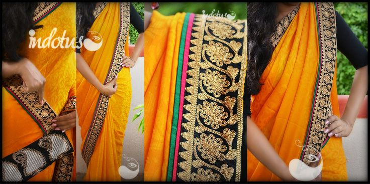 Mango yellow Crepe Saree wtih self design paired with pure banaras pallu and black border. Sari is finished with pink and green patti. Blouse - Black semi raw silk For order pls mail to indotus.couture@gmail.com or inbox to our page.