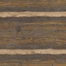Embossed Log Cabin Logs Wallpaper- Double Roll - Dark Brown  41382