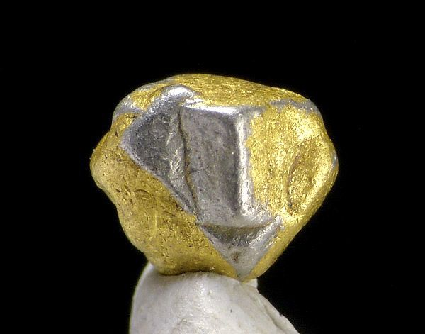 Native Platinum crystals covered in Gold