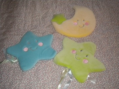 """Decorative wall hanging set of Moon and Stars in neutral pastels by Just Born. Brand new in package.  Approximately 8-9"""".  Coordinates with Iridescent Moon bedding set."""
