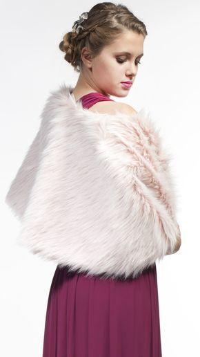 DRESSEOS - Capa de piel sintética rosa, perfecta para cualquiera de tus ocasiones - pink faux fur jacket