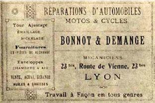 Carte publicitaire du garage de Jules Bonnot à Lyon.