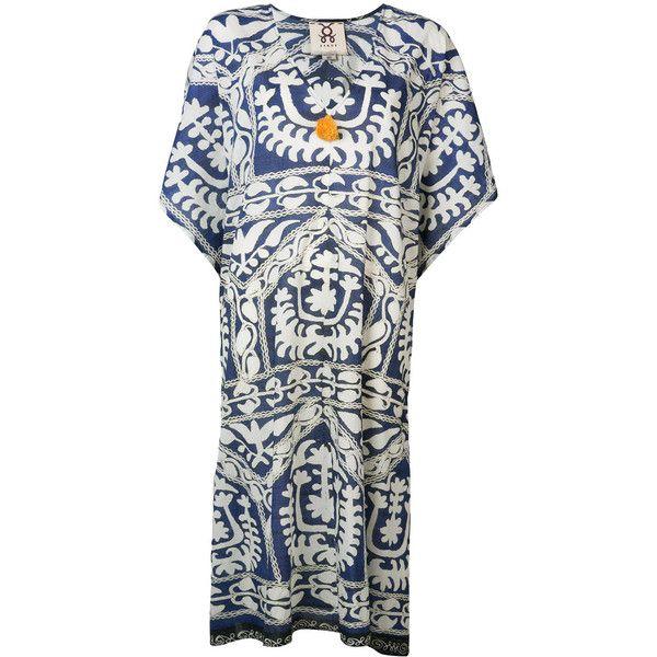 Figue 'Eliza' kaftan (£585) ❤ liked on Polyvore featuring tops, tunics, blue, white kaftan top, kaftan tops, blue tunic, figue and caftan tops