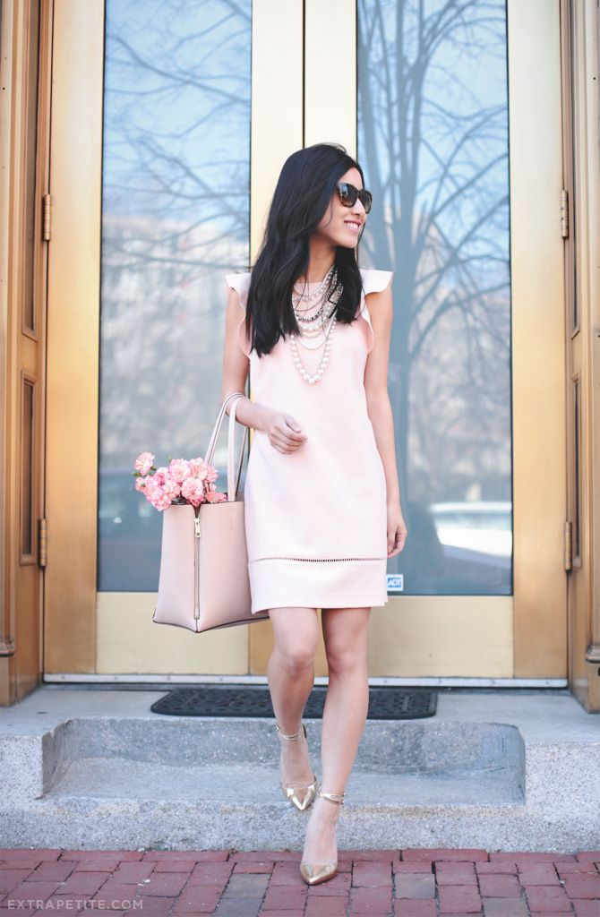 Jean of Extra Petite proves that big style comes in small packages, wearing our Petite Flutter Sleeve Dress.