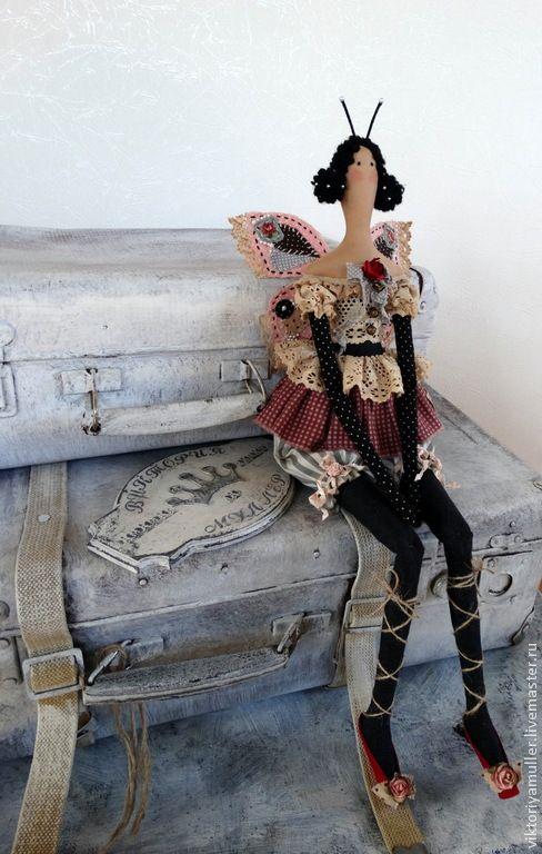 Купить кукла тильда ручной работы БАБОЧКА) - розовый, чёрный, серый, кукла ручной работы