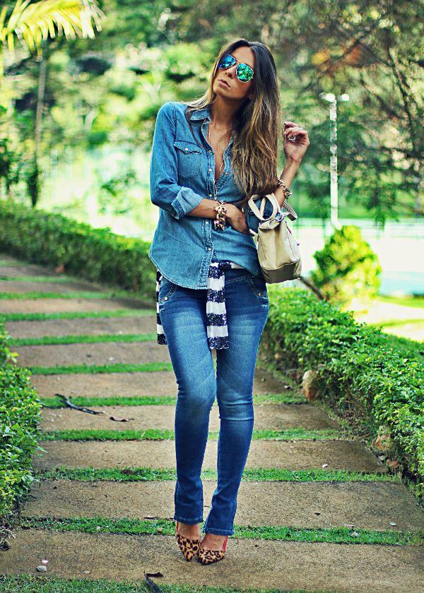 Decor e Salto Alto - Calça Jeans e Camisa Jeans