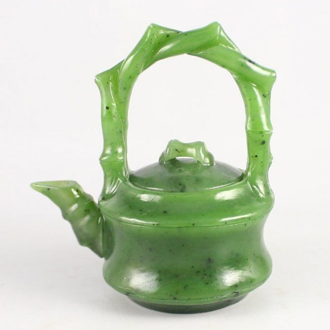 Hand Carved Chinese Natural Green Hetian Jade Teapot