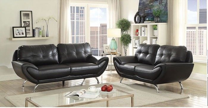 Tremendous 1449 99 2Pc Contemporary Style Living Room Furniture Black Gamerscity Chair Design For Home Gamerscityorg