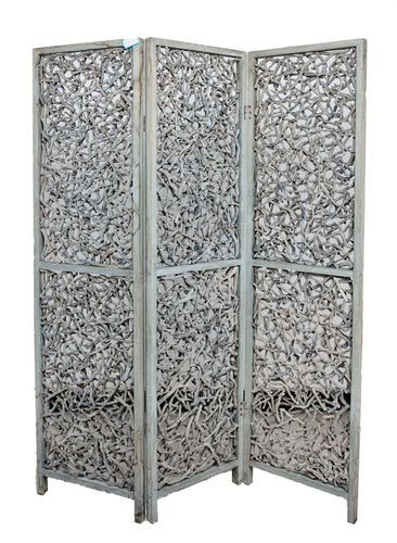 3 Panel Solid Wood Screen Room Divider Rustic Grey Color