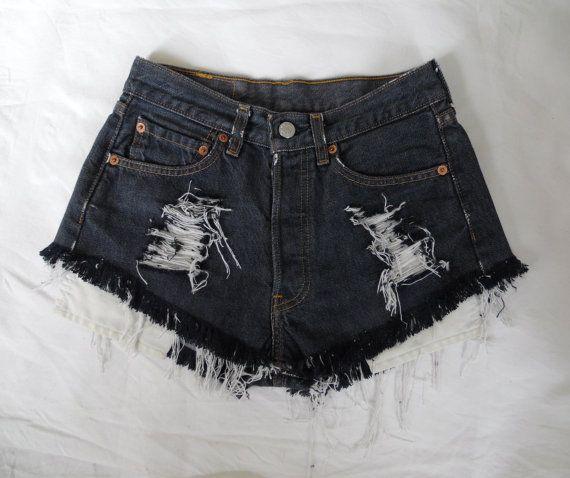 Alta vita scuro blu navy Levis 501 denim jean shorts vintage