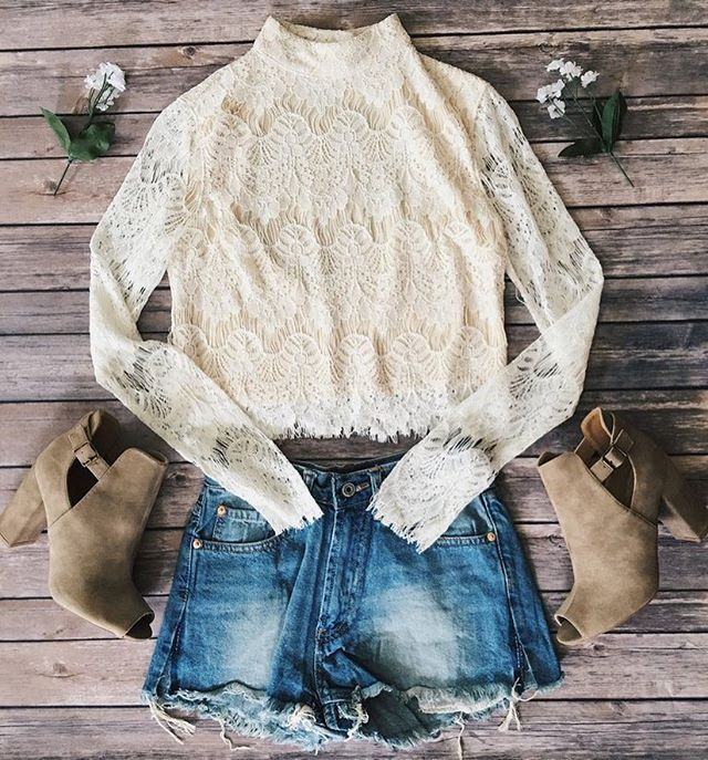 Emilia Cream Lace Top ✨ Link in bio to shop this outfit! shopdevi.com • #shopdevi