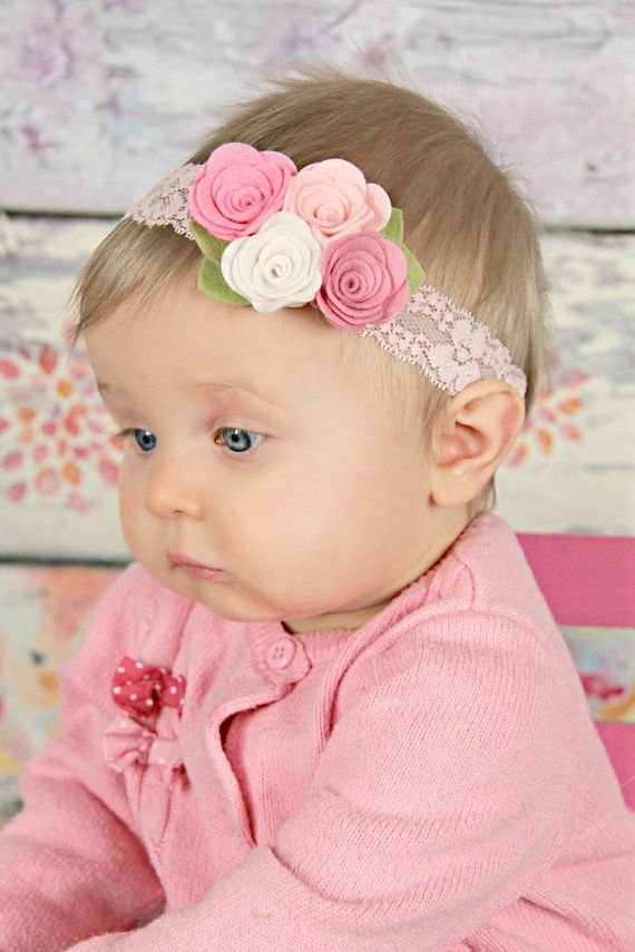 Pink felt flower headband - newborn/baby/toddler headband - Spring bouquet…
