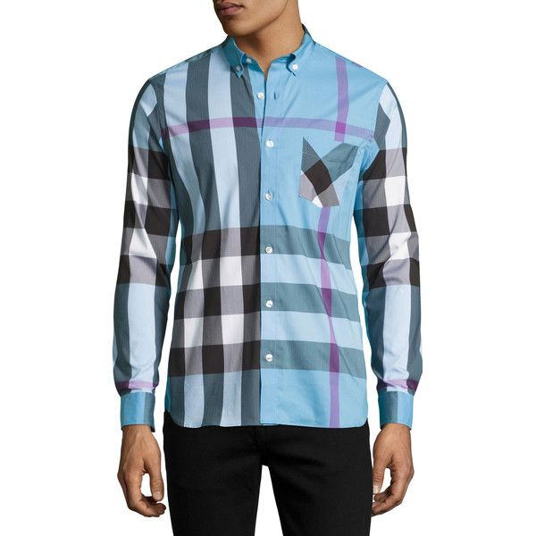 Burberry Thornaby Check Sport Shirt (5,310 MXN) ❤ liked on Polyvore featuring men's fashion, men's clothing, men's shirts, men's casual shirts, blue, mens checked shirts, mens checkered shirts, mens longsleeve shirts, mens blue shirt and mens long sleeve sport shirts