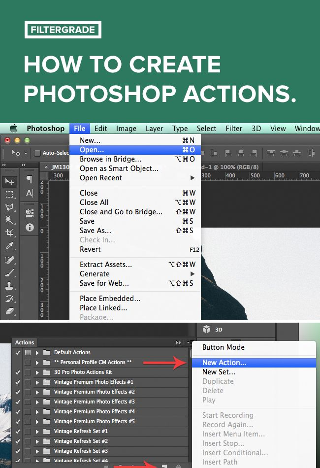 How to Create Photoshop Actions. Full tutorial on filtergrade.com.