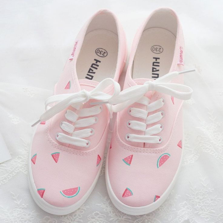 Pink watermelon hand-painted canvas shoes SE10081