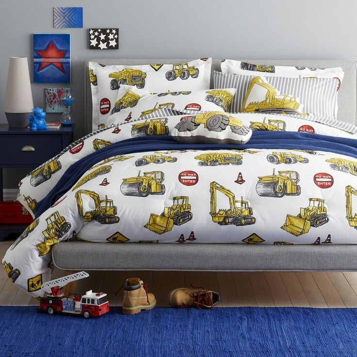 construction site bedding little ones who like big trucks will love this fun kids - Fun Kids Sheets