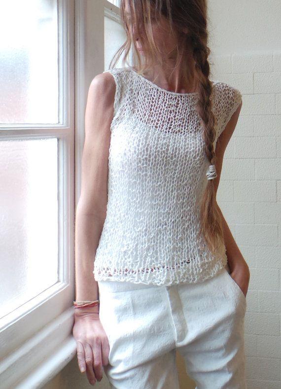 White vest / cotton mix summer tank / vest by ileaiye on Etsy