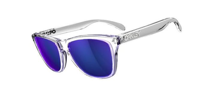 I had these back in the day.  Still love them.  Oakley Frogskins.    Polished Clear/Violet Iridium