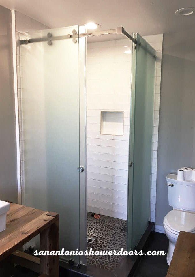 Frameless Corner Double Acting Barn Style Shower Slider Installed By San Antonio Showe Corner Shower Doors Sliding Shower Door Frameless Sliding Shower Doors
