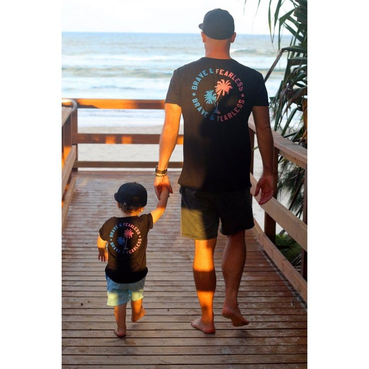 Black Two Palms Brave & Fearless Matching Dad & Me Tee Set