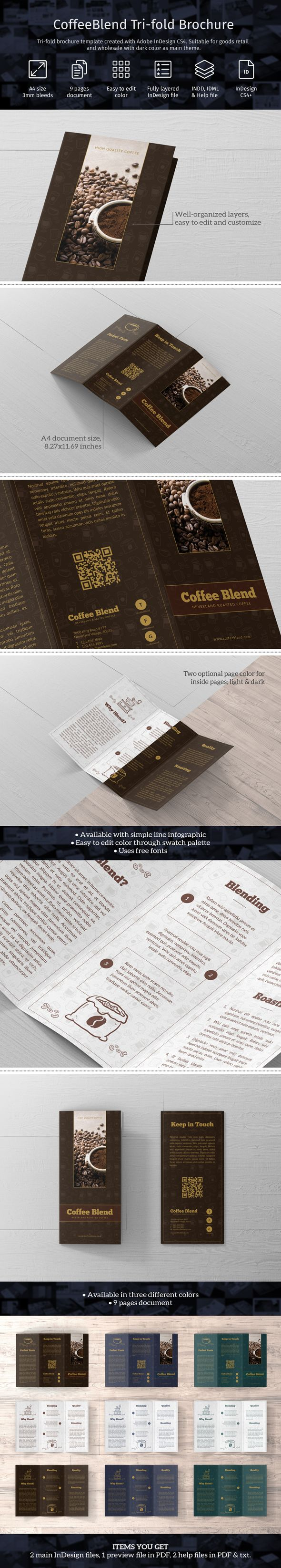Tri-fold brochure template created with Adobe InDesign CS4. Suitable for goods retail and wholesale with dark color as main theme, coffee for example. Template comes in A4 size with 3mm bleeds and different flap size (97mm + 100mm + 100mm combination) to avoid disturbed folding. #adobe #barista #blue #brochure #brown #coffee #dark #envato #graphicriver #green #indesign #modern #retail #template #trifold