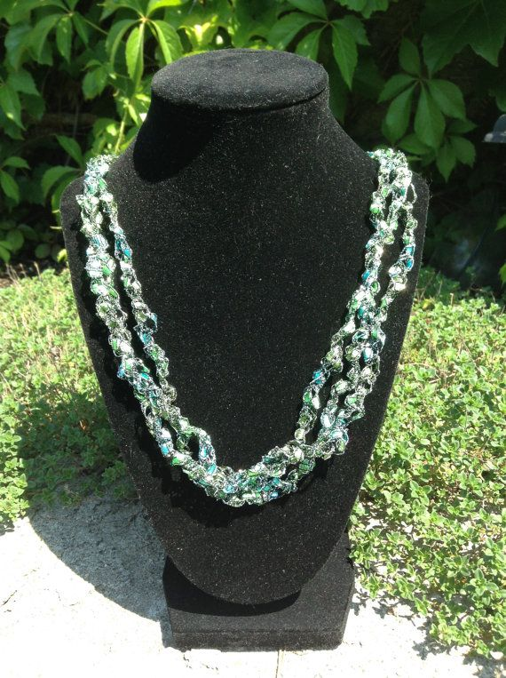 Check out this item in my Etsy shop https://www.etsy.com/ca/listing/244971816/ladder-yarn-necklace-aqua