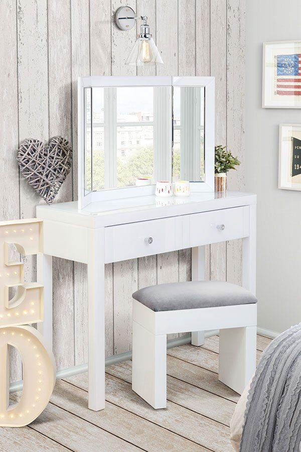 MADISON White Glass Dressing Table, White Triple Folding Mirror U0026 White  Glass Stool