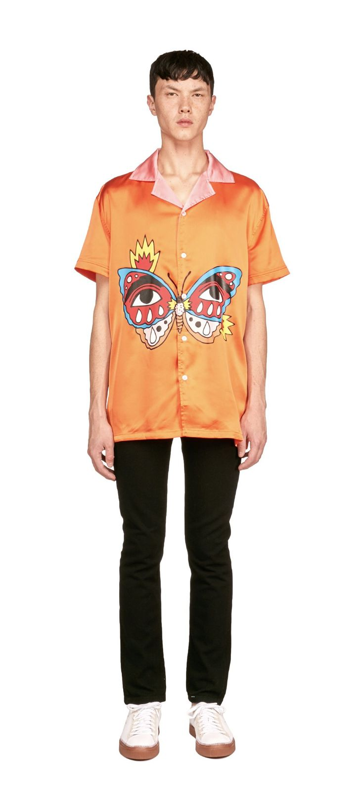 Ricardo Cavolo X Atelier New Regime Flaming Monarch Shirt / This soft-touch lightweight satin shirt features the Flaming Monarch artwork printed on the front, representing the last stage of a butterfly's evolution, symbolizing grace, growth and soul. #ricardocavolo