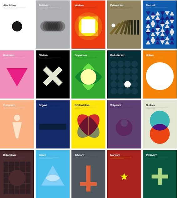 Alway good to see complex theories simplified like this set of 20 posters (London based designer Genis Carreras)Genie Carrera, Theory Explain, Philosophical Theory, Picture-Black Posters, Philosophy Posters, Formas Geométricas, Ems Formas, Graphics Design, Basic Shape