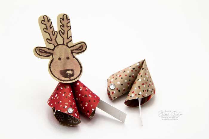 Weihnachts-Glückskekse mit Rentier Ausgestochen weihnachtlich #Stampin´ Up!
