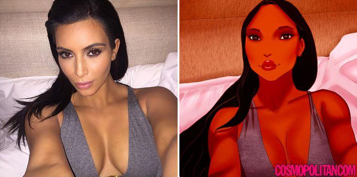 Cuando las princesas de Disney usan instagram como Kim Kardashian