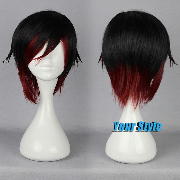 RWBY.Ruby Rose Red Wig Natural Looking African American Wigs Two Tones Red Black Wig Peruca Cosplay Perruque Synthetic Women