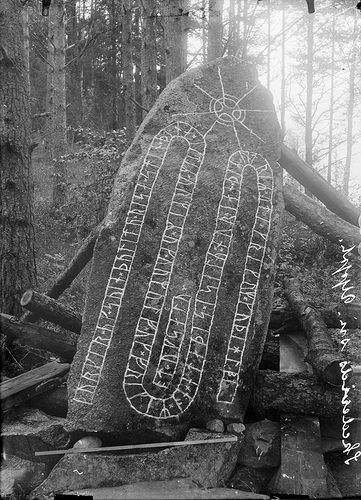 """Rune stone, Västra Ledinge, Uppland, Sweden.  The inscription says: """"Torgärd and Sven, they had this stone raised in memory of Ormer and Ormulv and Fröger. He met his end in the sound of Sila (Selaön island), and the others abroad in Greece. May God help their spirits and souls"""". Photo taken in 1916"""