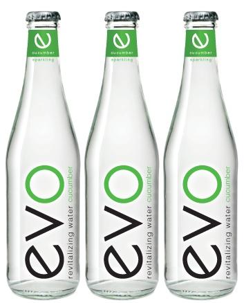 SanTasti's Evo Cucumber-flavored revitalizing sparkling water bottle label design #packaging PD
