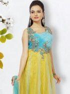 Sana in cutwork embroidered yellow anarkali: KSL2437