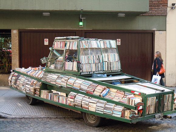 Weapon of Mass Instruction - The Argentinian Book Art Tank Raul Lemesoff coverted a 1979 green Ford Falcon into a moving library. The Ford f...