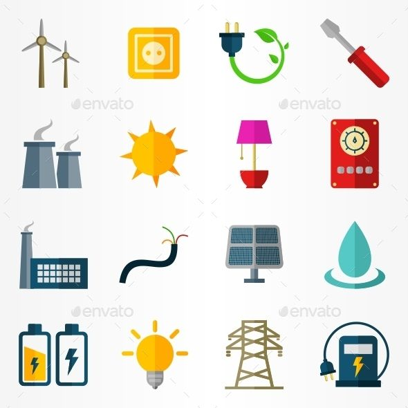 Electricity icons. Energy icons. Vector format: Illustrator (AI), Corel Draw (CDR), EPS. And more Photoshop (PSD), PNG formats.