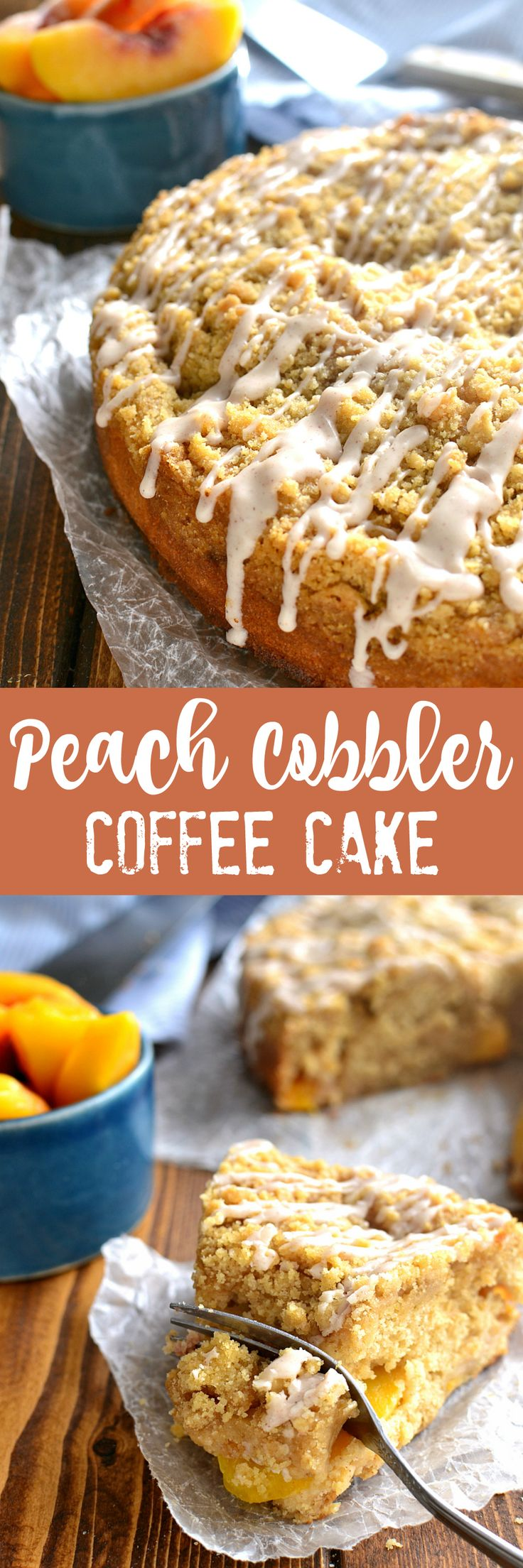 This Peach Cobbler Coffee Cake combines rich, moist cake with delicious fresh peaches and a sweet cinnamon drizzle. THE perfect coffee cake for spring, and destined to become a family favorite!