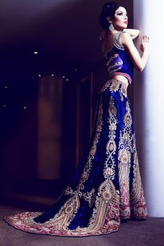 royal blue with train lengha .... maybe not in blue