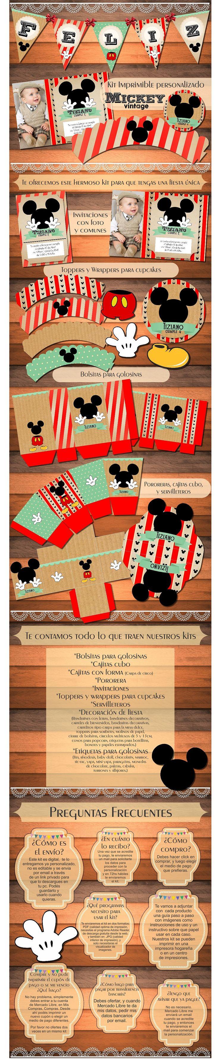 Kit Imprimible Mickey Vintage Original Cumpleaños Bautismos - $ 150,00
