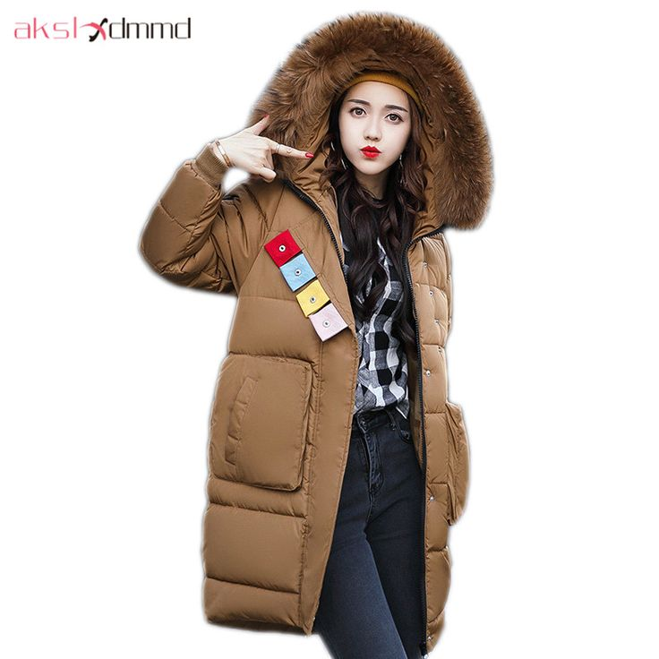 AKSLXDMMD Parkas Mujer Plus Size Women Winter Jacket 2017 New Fashion Thick Fur Collar Hooded Long Coat Female Overcoat LH1109 #Affiliate